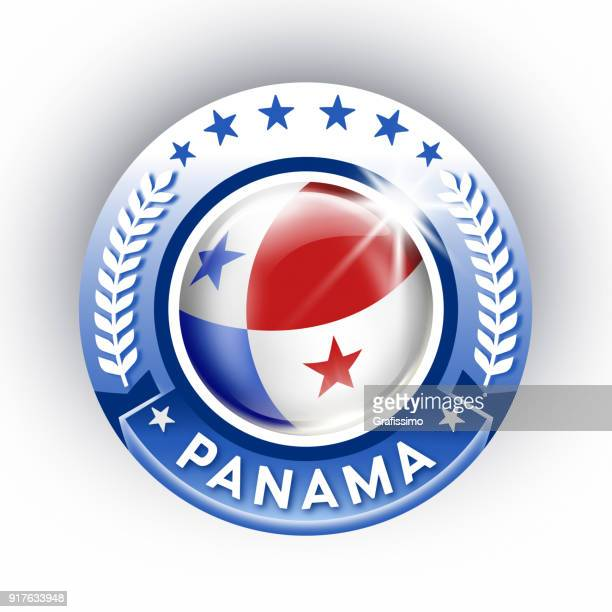 Panama button with flag isolated on white