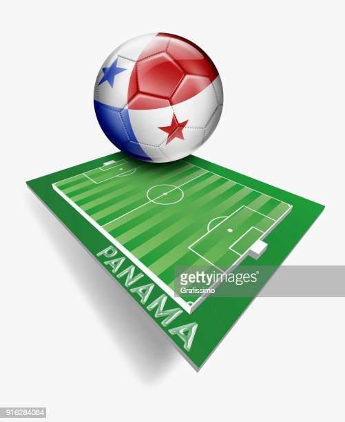 Panama button with flag on green soccer field with team name
