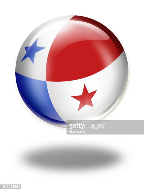 panama button with panamanian flag isolated on white - panama city panama stock illustrations, clip art, cartoons, & icons