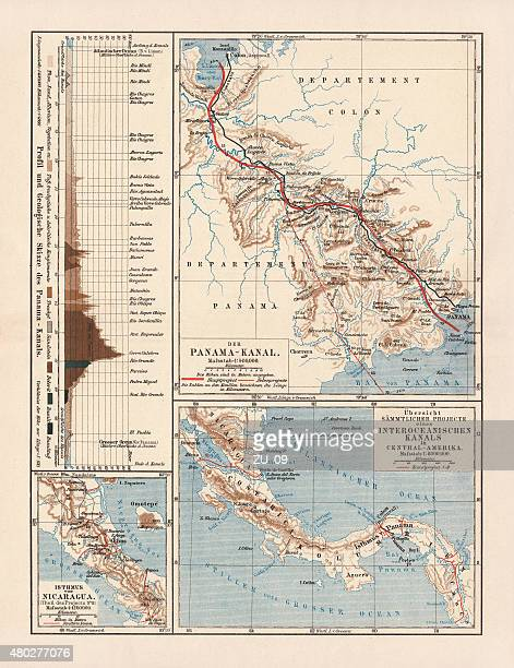 panama canal project, lithograph, published in 1880 - panama stock illustrations, clip art, cartoons, & icons