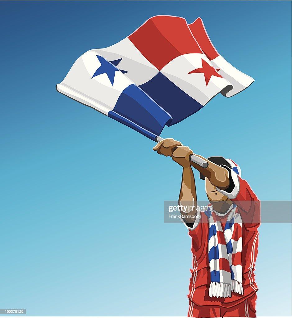 Panamania Waving Flag Soccer Fan : stock illustration