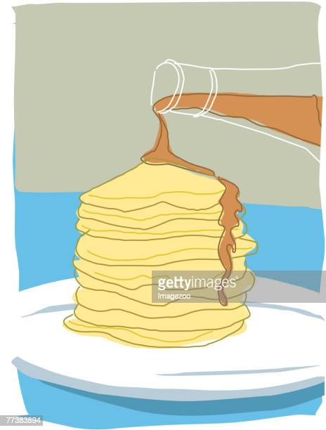 pancake and syrup - maple syrup stock illustrations