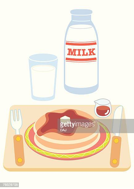 pancake breakfast, close-up, illustration - maple syrup stock illustrations