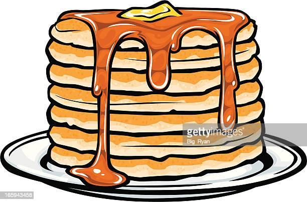 pancake stack - breakfast cartoon stock illustrations