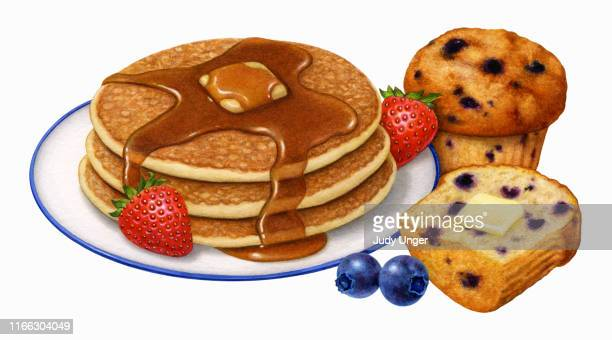 pancakes, muffin, and berries - maple syrup stock illustrations
