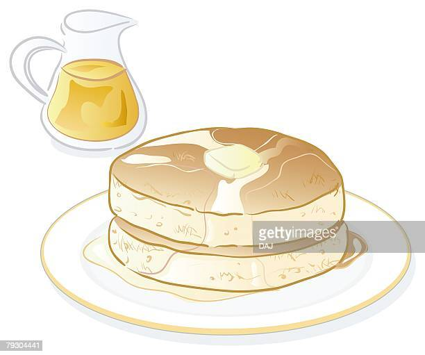 pancakes with butter and maple syrup - maple syrup stock illustrations