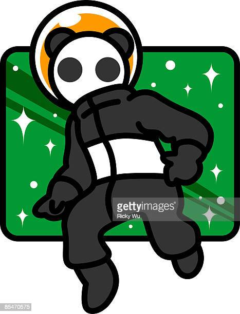 A panda astronaut in space