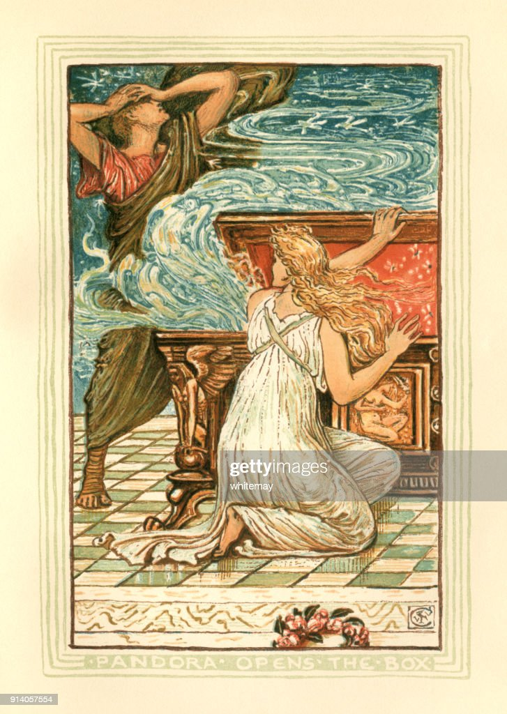 Pandora opens the box - Greek mythology : Stock Illustration