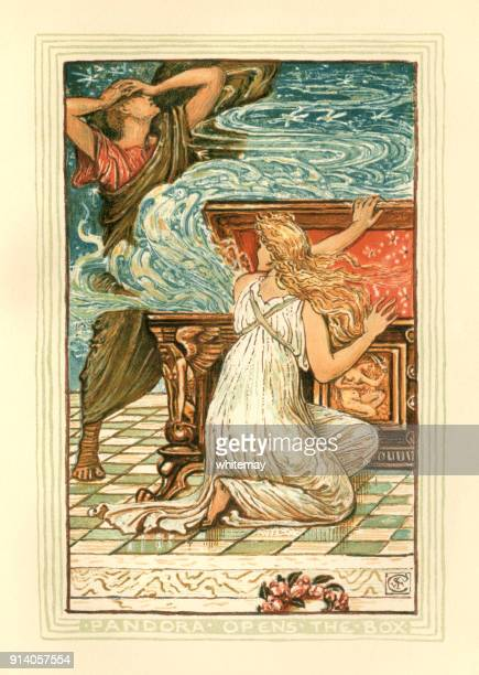 pandora opens the box - greek mythology - greek mythology stock illustrations