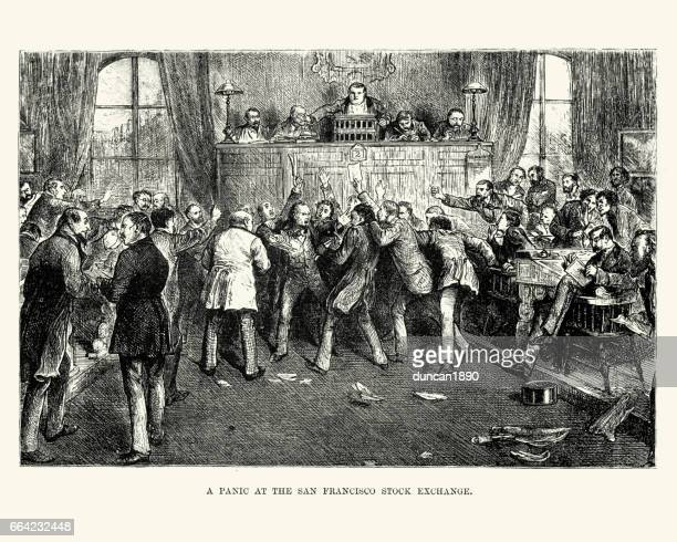 panic at the san francisco stock exchange, 19th century - trading floor stock illustrations