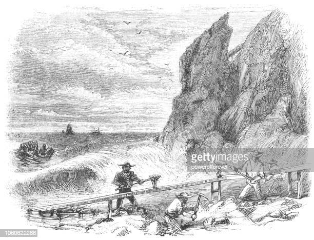 panning for gold at gold bluffs beach in humboldt county, california, usa (19th century) - sluice stock illustrations