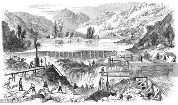 panning for gold at middle forks american river in california, usa (19th century) - sluice stock illustrations
