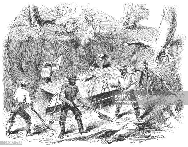 panning for gold at mormon gulch in california, usa (19th century) - gold rush stock illustrations