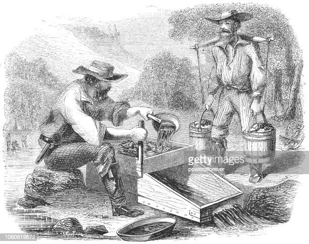 panning for gold at the stanislaus river in california, usa (19th century) - gold rush stock illustrations