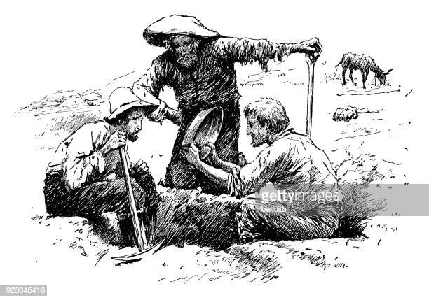 panning for gold - gold rush stock illustrations