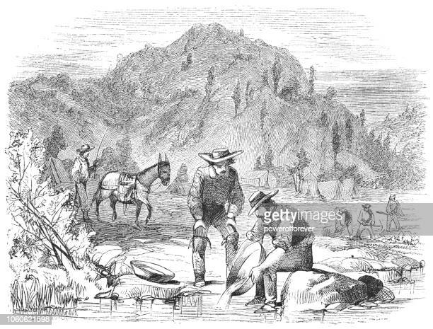 panning for gold in california, usa (19th century) - gold rush stock illustrations