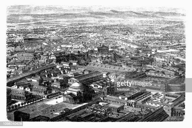 panorama view of rome, italy - roman forum stock illustrations