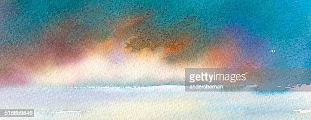 panorama with dramatic clouds over the sea - heaven stock illustrations