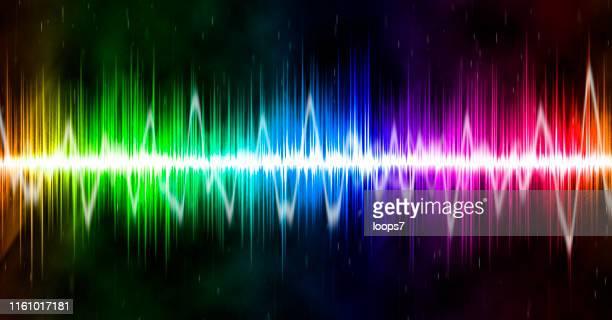 stockillustraties, clipart, cartoons en iconen met panoramische geluidsgolf - oscilloscoop