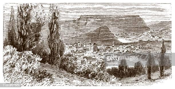 panoramic view of city of veliko tarnovo, bulgaria - old town stock illustrations