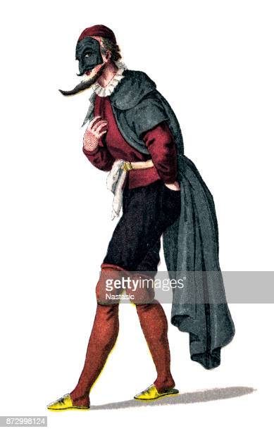 pantalone, pantaloon ,is one of the most important principal characters found in commedia dell'arte - stage costume stock illustrations