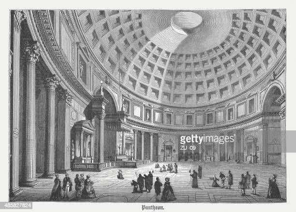 pantheon in rome, interior view, published in 1878 - capitol rome stock illustrations, clip art, cartoons, & icons