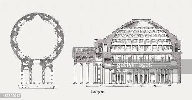 pantheon in rome, published in 1878 - capitol rome stock illustrations, clip art, cartoons, & icons