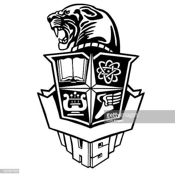 panther school crest - high school stock illustrations, clip art, cartoons, & icons