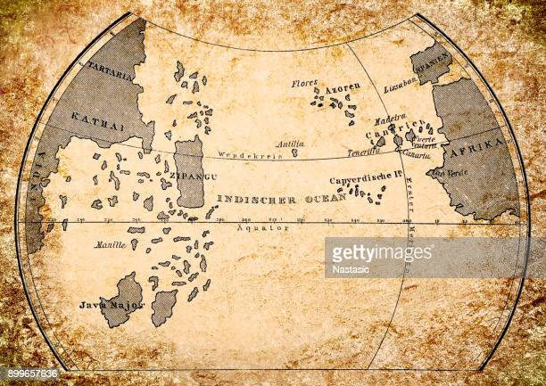 paolo dal pozzo toscanelli map of earth from 15th century - circa 15th century stock illustrations, clip art, cartoons, & icons