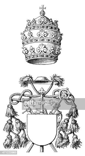 papal tiara and mitre - bishop clergy stock illustrations, clip art, cartoons, & icons