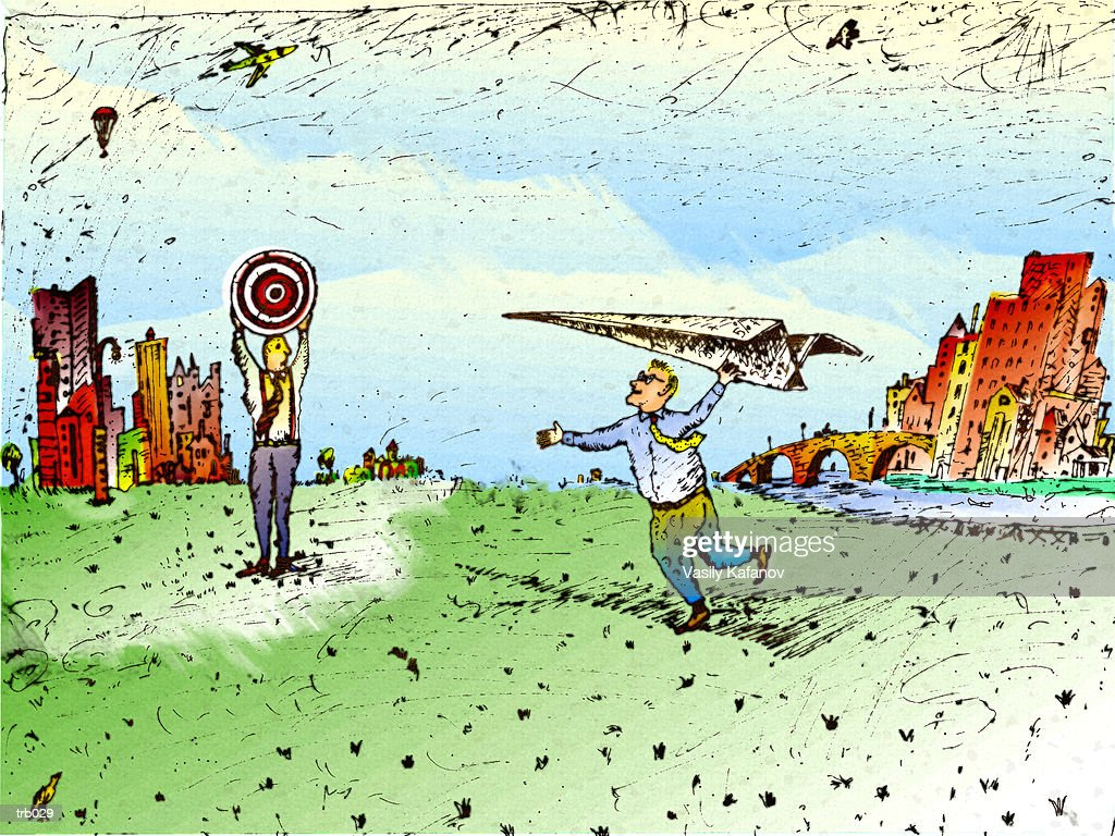 Paper Airplane & Bull's Eye : Stock Illustration