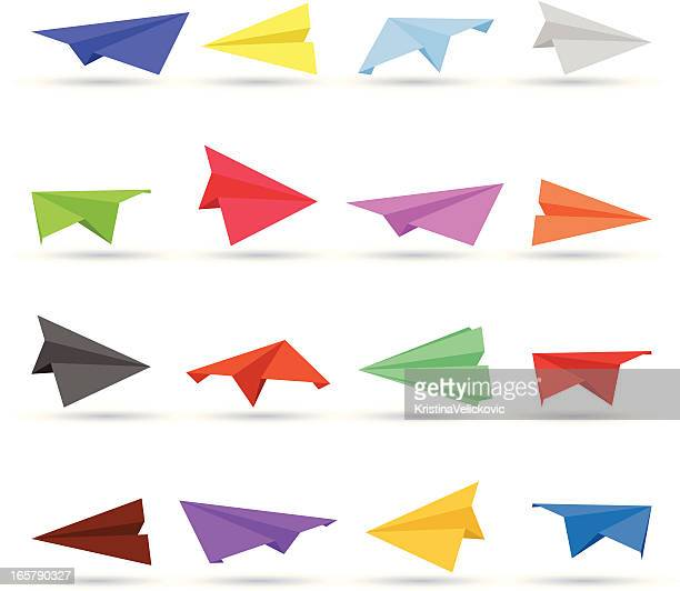 paper airplane set - paper airplane stock illustrations, clip art, cartoons, & icons