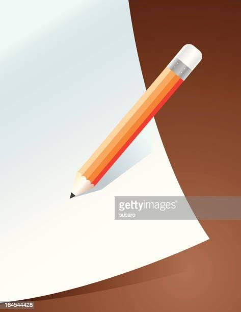 ilustrações, clipart, desenhos animados e ícones de papel e lápis escrevendo uma nota - preencher um formulário