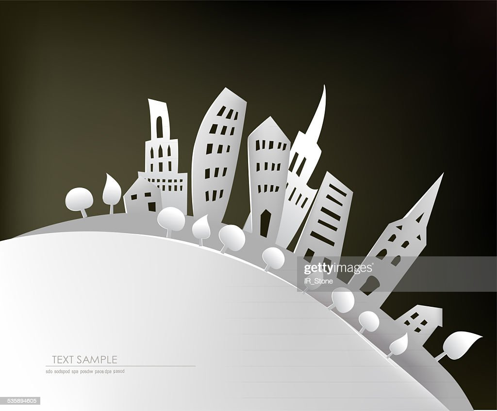 Paper background, City street : Stock Illustration