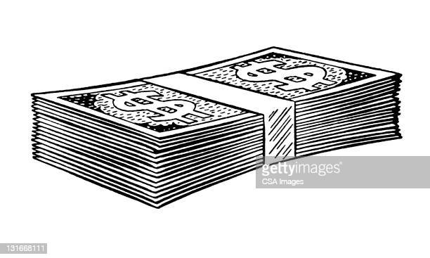 paper currency - stack stock illustrations