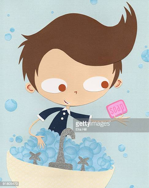 A paper cut illustration of a boy using soap to wash his hands