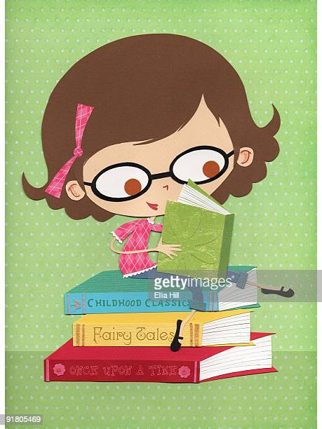 a paper cut illustration of a little girl wearing glasses and reading books - one girl only stock illustrations, clip art, cartoons, & icons