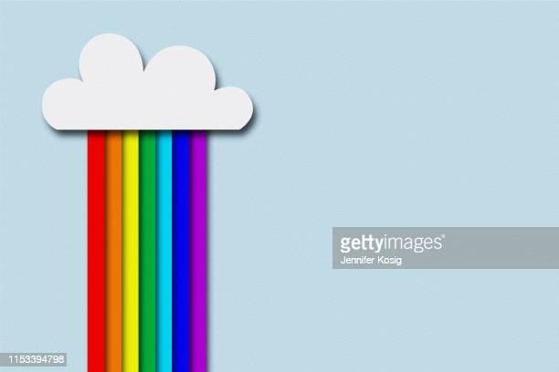 papier geschnitten regenbogen, hebend mit kopierplatz - lgbtqia kultur stock-grafiken, -clipart, -cartoons und -symbole