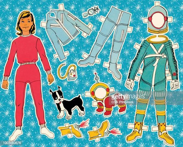紙人形宇宙飛行士と犬 - 紙人形点のイラスト素材/クリップアート素材/マンガ素材/アイコン素材