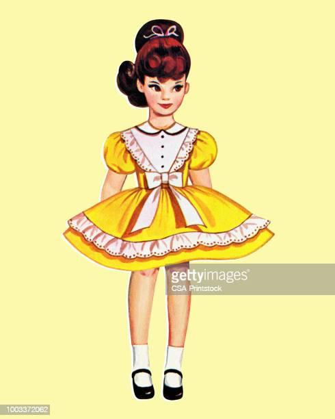 紙人形の女の子の身に着けているドレス - 紙人形点のイラスト素材/クリップアート素材/マンガ素材/アイコン素材