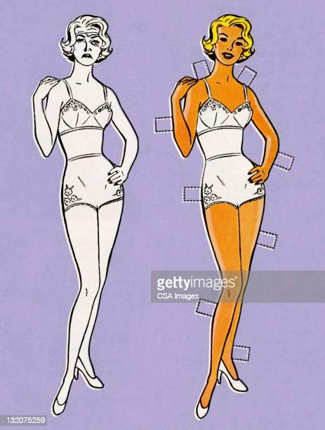 紙人形の下着 - 紙人形点のイラスト素材/クリップアート素材/マンガ素材/アイコン素材