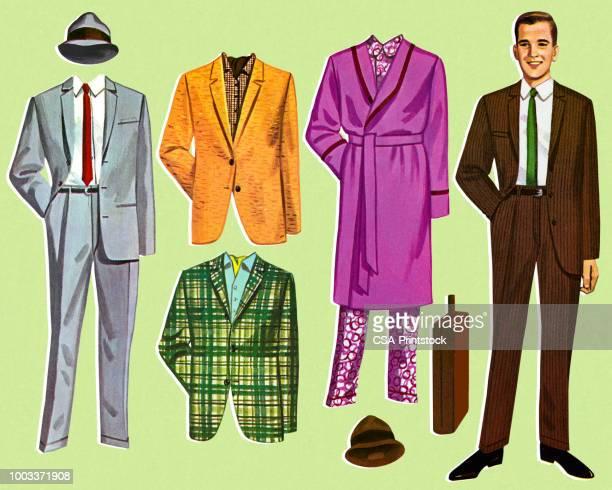 紙人形の男と衣装 - 紙人形点のイラスト素材/クリップアート素材/マンガ素材/アイコン素材
