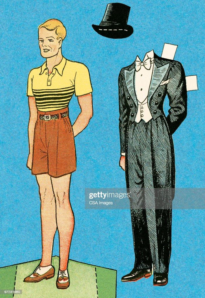 Paper doll man : stock illustration