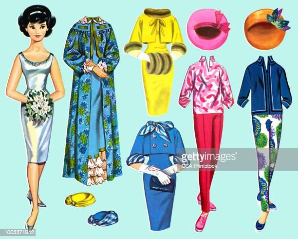 紙人形女性と衣装 - 紙人形点のイラスト素材/クリップアート素材/マンガ素材/アイコン素材