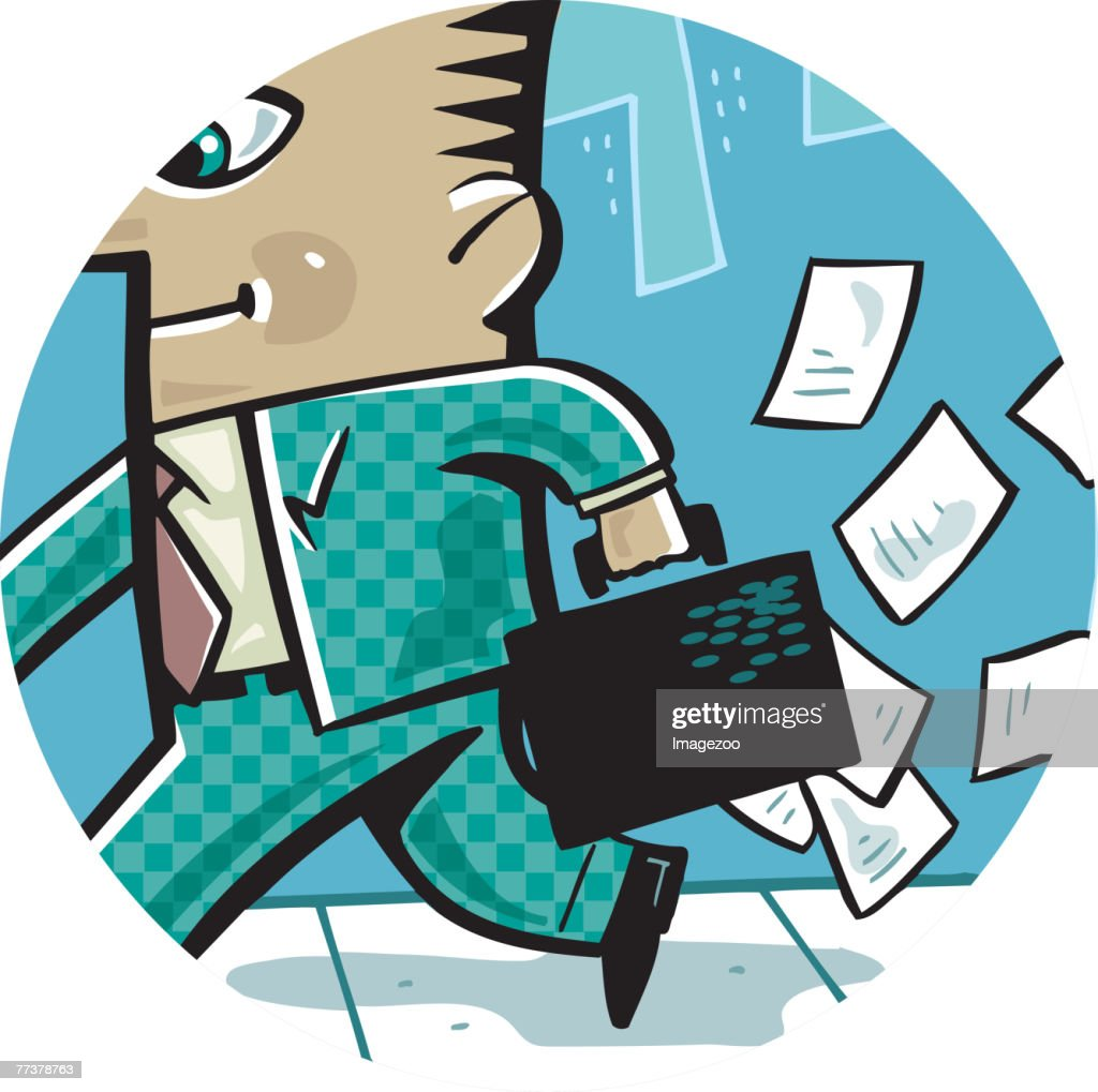 paper falling out of businessman's briefcase : Illustration