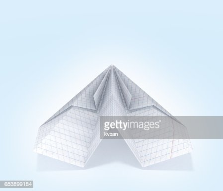Paper Plane Made With Graph Paper On Blue Gradient Background D