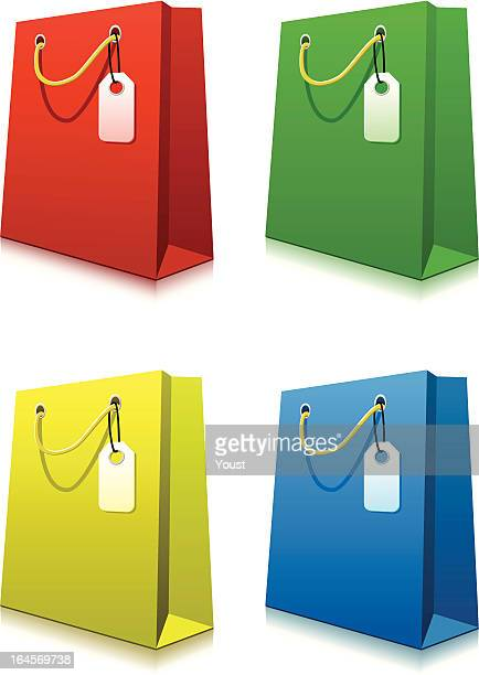paper shopping bags with price tags - goodie bag stock illustrations, clip art, cartoons, & icons
