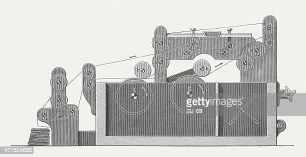 paperboard machine, wood engraving, published in 1877 - paperboard stock illustrations