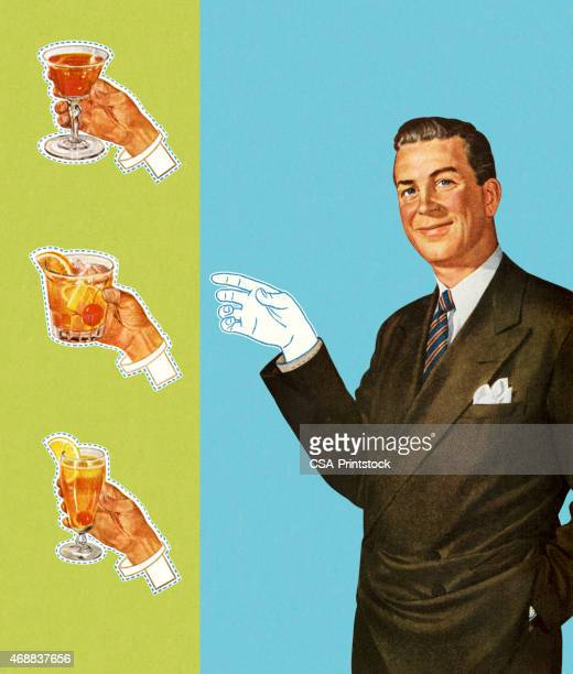 paperdoll man holding cocktails - happy hour stock illustrations, clip art, cartoons, & icons