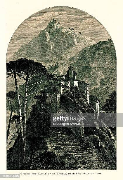 papigno and castle of st. angelo, terni, italy - castel sant'angelo stock illustrations